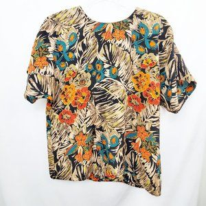 VTG 80s Made in USA Floral Sketch Boxy Fit Top EUC